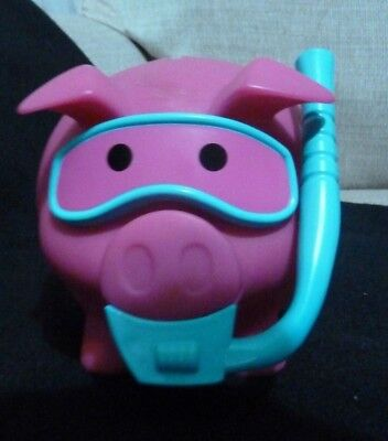 "Old Navy Collectible Pig  coin Bank pink & blue with snorkel 7"" x 5"""