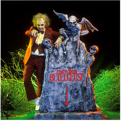 Beetlejuice Michael Keaton leaning on Betelgeuse tombstone 8 x 10 Inch Photo