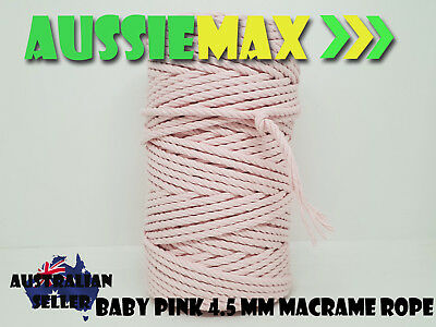 4.5mm Baby Pink Macrame Rope 100% Natural Cotton Cord 90 Meters