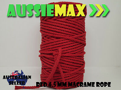 4.5mm Red Macrame Rope 100% Natural Cotton Cord 90 Meters