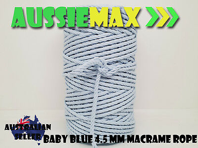 4.5mm Baby Blue Macrame Rope 100% Natural Cotton Cord 90 Meters