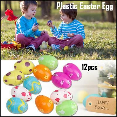 12pcs Colorful Plastic Empty Fillable Easter Eggs DIY Drawing Egg Kids Toy Decor