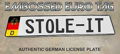 BMW German Eagle Euro European License Plate Embossed - STOLE-IT -  GERMANY
