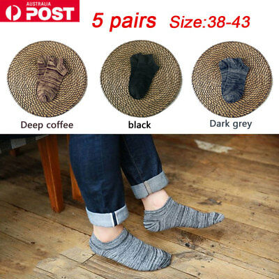 5 Pairs Men's Invisibl No Show Ankle Socks Low Cut Nonslip Crew Casual Footlet