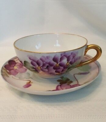 VINTAGE Nippon Hand Painted Coffee Tea Cup & Saucer Porcelain-Violets Gold Trim!