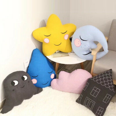 Novelty Xmas Gift Cute Moon Star Cloud House Shape Cushion Pillow Kids Toy Doll
