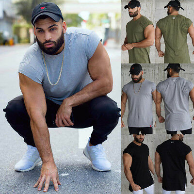 Gym Mens Sports Muscle T-shirt Short Sleeve Fitness Bodybuilding Sexy Tops Tee