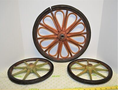 """3 Antique Primitive Buggy Cart Wagon Wheels Old Farm Wood Red Green 10"""" & 14.25"""""""