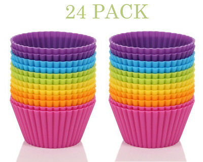 24pcs Silicone Cake Muffin Chocolate Cupcake Liner Baking Cup Cookie Mold 7cm US