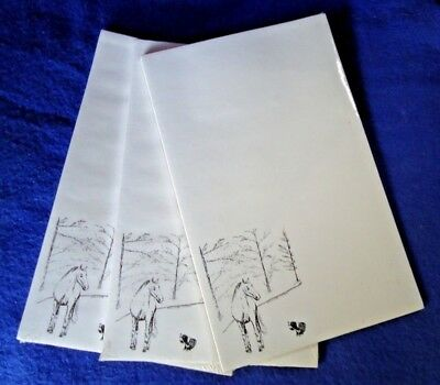 Horse and Dog 3 Notepads 50 Sheets 8.5 x 5.5 New Black & White Drawing New