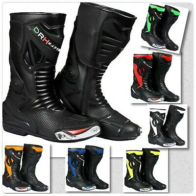 Mens Genuine Leather Motorbike Motorcycle Racing Boots Sports Shoes