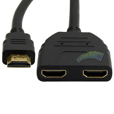 HDMI Male to Dual HDMI Female 1 in 2 out Y Splitter Hubs Cable Adapter Converter