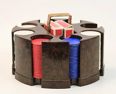 Vintage Dennison Poker Chip Caddy Holder Marbled Brown With Chips Retro