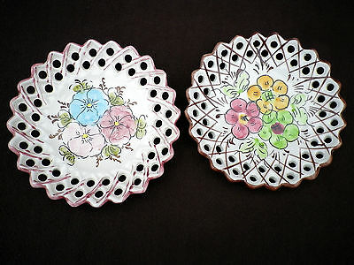Small Hand Painted Portuguese Pierced Wall Plates Traditional Floral Designs