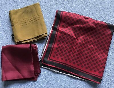 Lot of 3 Vintage Pocket Squares Silk Hand Rolled Handkerchief