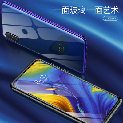 For XiaoMi Mi Mix 3 Luxury Clear Tempered Glass +Metal Aluminum Frame Case Cover