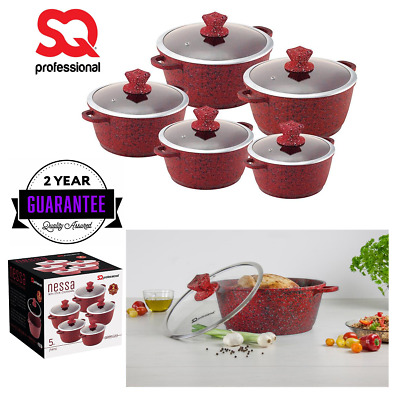 5pc Granite Non Stick Marble Casserole Set Stockpots Lids Induction Oven Hob Red