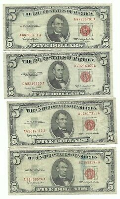 LOT OF 4 - 1953B & 1963 SERIES $5.00 Circulated Red Seal US Notes