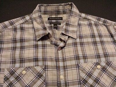 Banana Republic Mens Large Short Sleeve Button-Front Multi-Color Plaid Shirt
