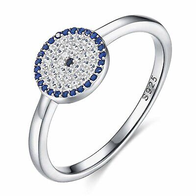 Round Blue Evil Eye Band Ring 925 Sterling Silver Cubic Zirconia Size L-T SEMAID