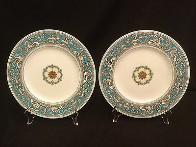 Wedgwood Florentine Turquoise Enameled Pair Of Dinner Plates - W 2714 Green Mark