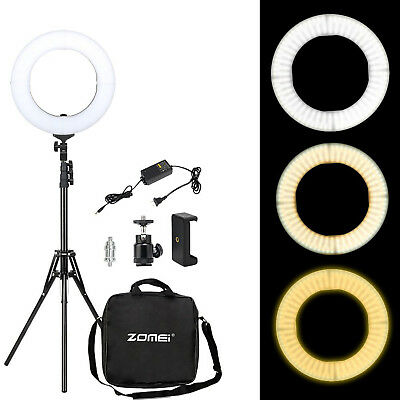 ZOMEI LED Ring Light Dimmable Continuous Lighting with Stand for makeup live