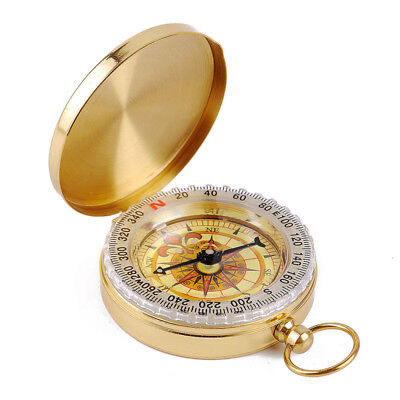 Noctilucent Brass Hiking Camping Compass Pocket Watch Style Ring Outdoor Sports