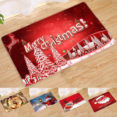Christmas Santa Claus Xmas Doormat Anti-Slip Mat Floor Fluffy Rug Carpet Home