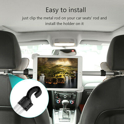 360° Car Seat Back Metal Headrest Mount Holder For iPad Samsung Android Tablet