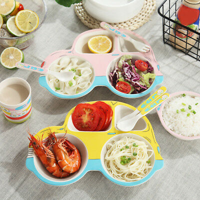 5X Baby Bowls Plate Tableware Children Cartoon Food Placemat Dishes Feeding Bowl