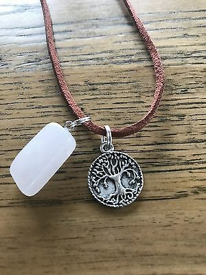 Rose Quartz Crystal with Tree of Life Pendant brown suede love necklace