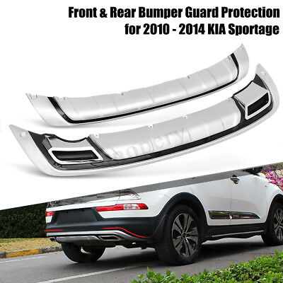 Front Rear Bumper Protect Guard Board Protection ABS For KIA Sportage 2010-2014