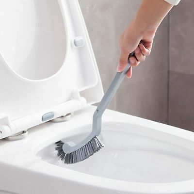 Long Handle Curved Toilet Cleaning Brush Corner Rim Cleaner Bathroom Plastic