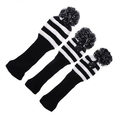 Set of 3Pc Golf Club Knitted Headcover Head Covers For 1# 3# 5# Golf Club Driver