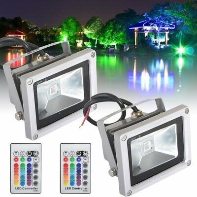 10W 20W 30W 50W RGB LED Floodlight Remote Control Outdoor Garden Spotlight Xmas