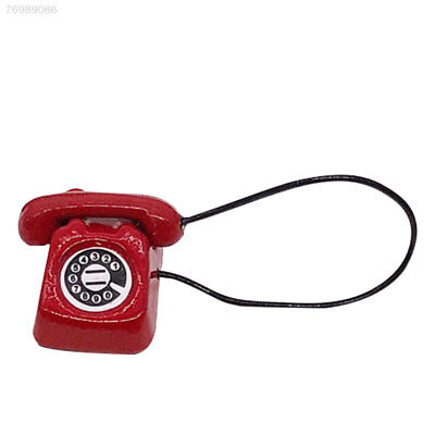 2B67 1pcs Collection Mini Wired Accessories Mini Dollhouse  Phone Red