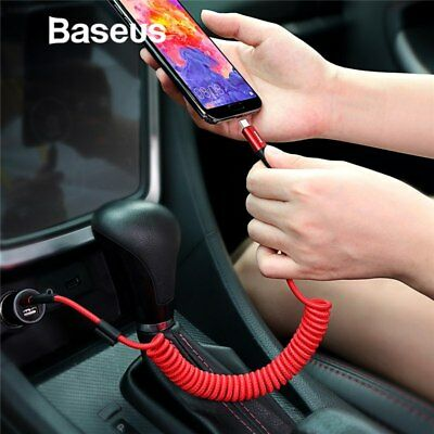 Baseus Braided Coiled Spring Type C USB-C Fast Charging Cord Data Sync Cable Car