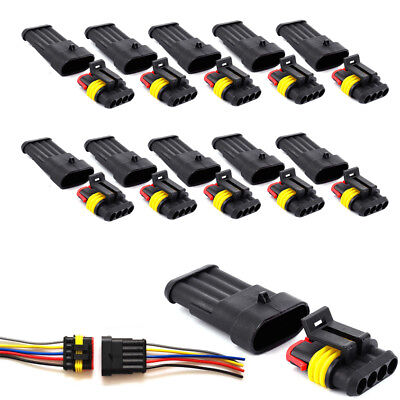 10 Kit 2/3/4 Pin Way Sealed Waterproof Electrical Wire Connector Plug Car