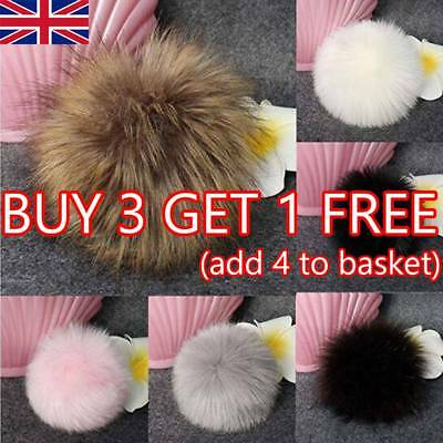 UK 11cm Faux Raccoon Fur Pom Pom Ball with Press Button for Knitting DIY Hat NEW
