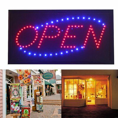 Flashing Colour LED WELCOME OPEN Shop Sign Display Window Hanging Light Board