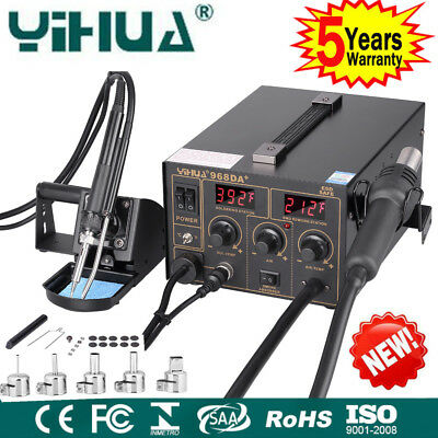 3in1 YIHUA SMD Hot Air Gun Soldering Iron Station Rework Welder 5 Nozzle 968DA+