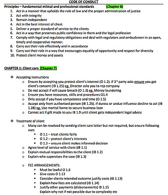 Professional conduct and regulation PCR LPC full notes 2018 DISTINCTION