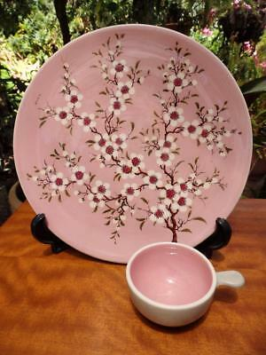 50s VINTAGE Australian POTTERY Guy BOYD Cherry Blossom LARGE Wall PLATE 29cm