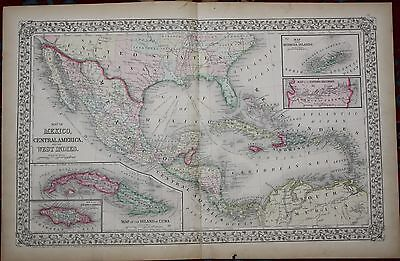 Mexico, Central America & West Indies Original Antique 1870 Mitchell's Atlas Map