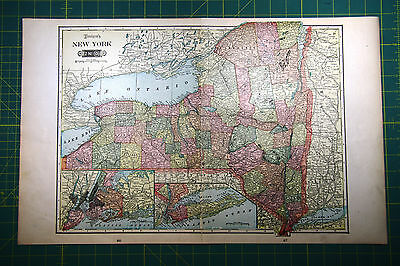 New York NY - Rare Original Vintage 1900 Antique Tunison Color World Atlas Map