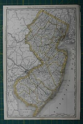 New Jersey Rand McNally Antique Vintage 1892 World Business Atlas Map