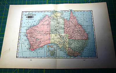 Australia - Rare Original Vintage 1900 Antique Tunison Colored World Atlas Map