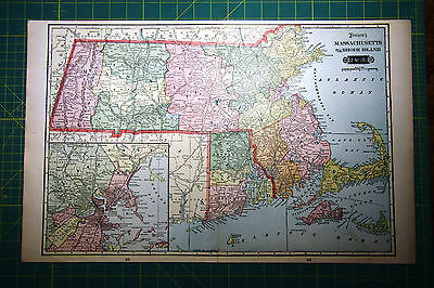 Massachusettes Rhode Island - Rare Original Vintage 1900 Antique World Atlas Map