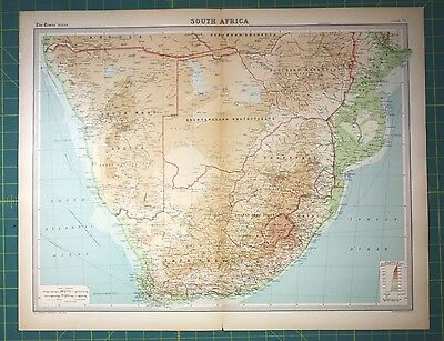 South Africa Plate 71 - Vintage 1922 Times World Atlas Antique Folio Map