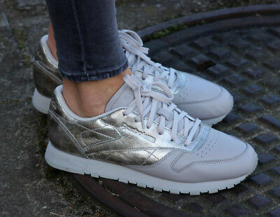 9ee305a6949 New Reebok Classics Womens Classic Leather IL Trainers Silver Grey All Sizes